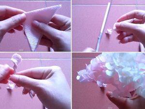 Cách làm hoa cẩm tú cầu bằng giấy nhún