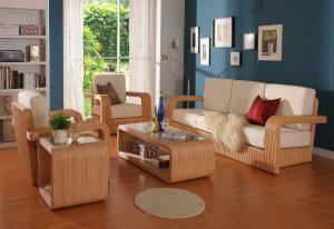 Sofa gỗ tự nhiên giả kiểu mây tre