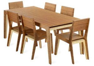 Bàn ăn gỗ sồi nga mặt bàn phẳng