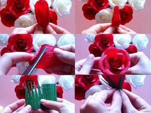 Dùng tay kéo giãn phần cánh hoa để tạo độ phồng cho từng cánh, từng lớp